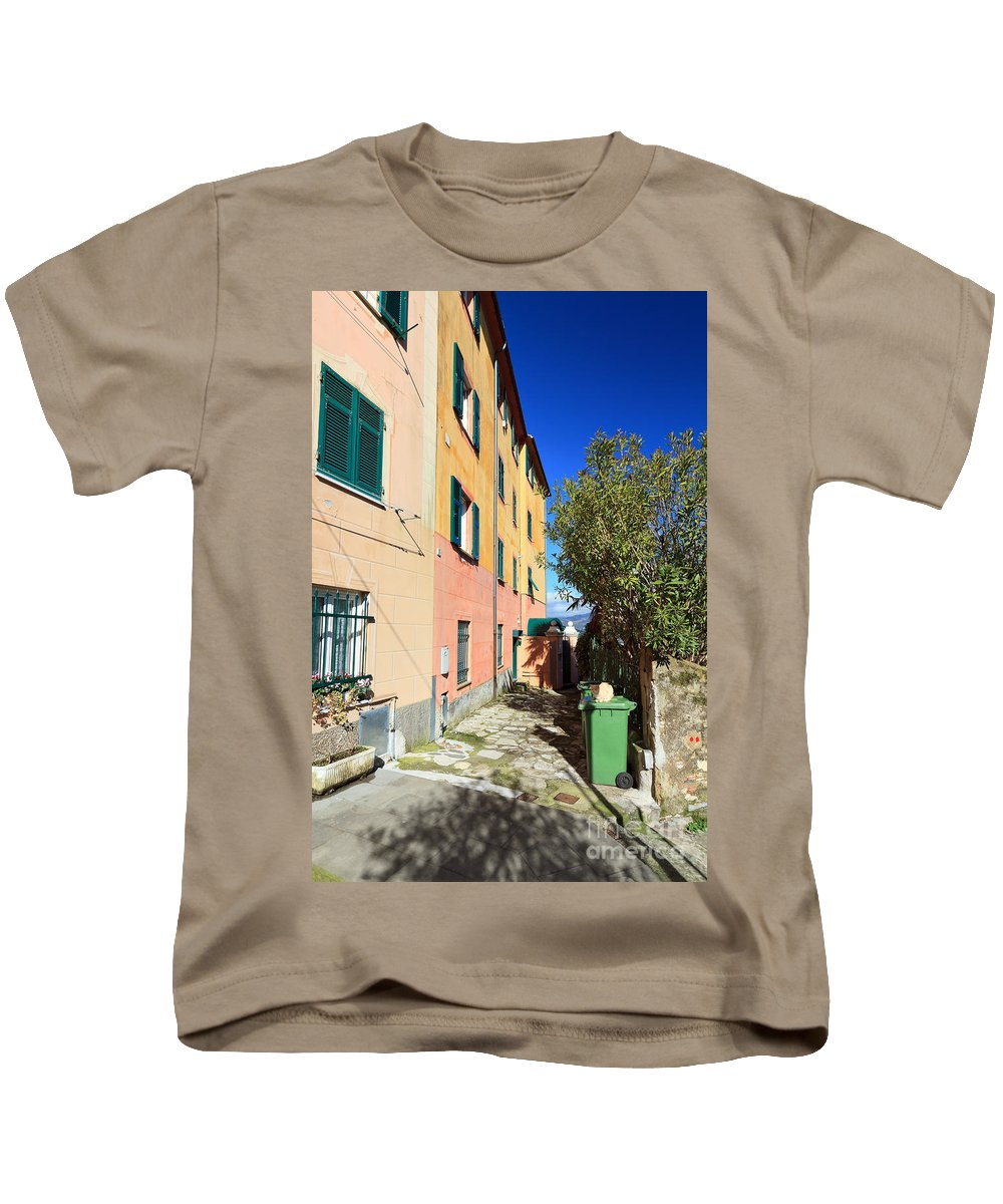 Ancient Kids T-Shirt featuring the photograph San Rocco In Camogli by Antonio Scarpi