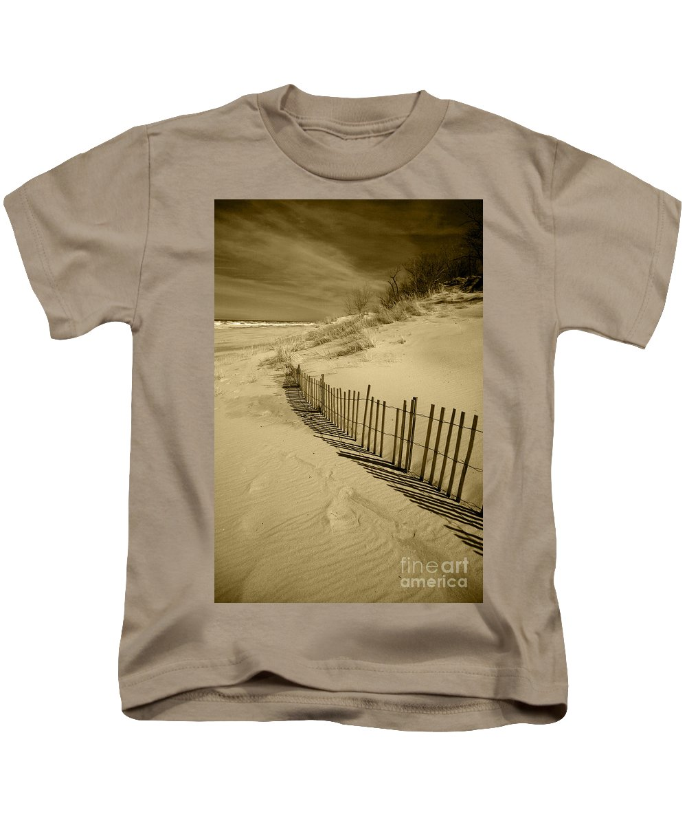 Sand Dunes Kids T-Shirt featuring the photograph Sand Dunes And Fence by Timothy Johnson