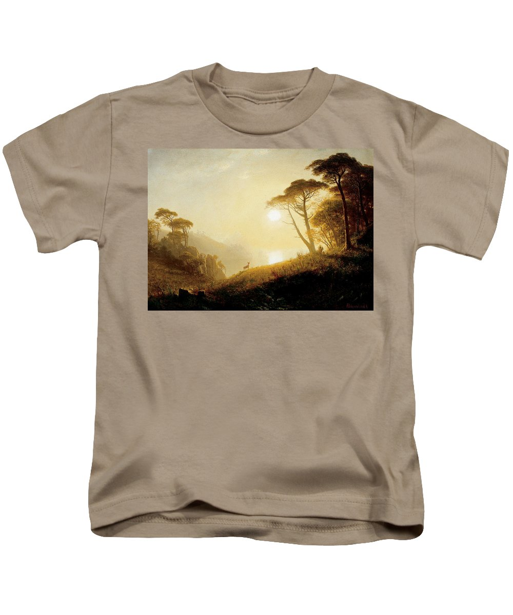 Scene In Yosemite Valley Kids T-Shirt featuring the painting Scene In Yosemite Valley by Albert Bierstadt