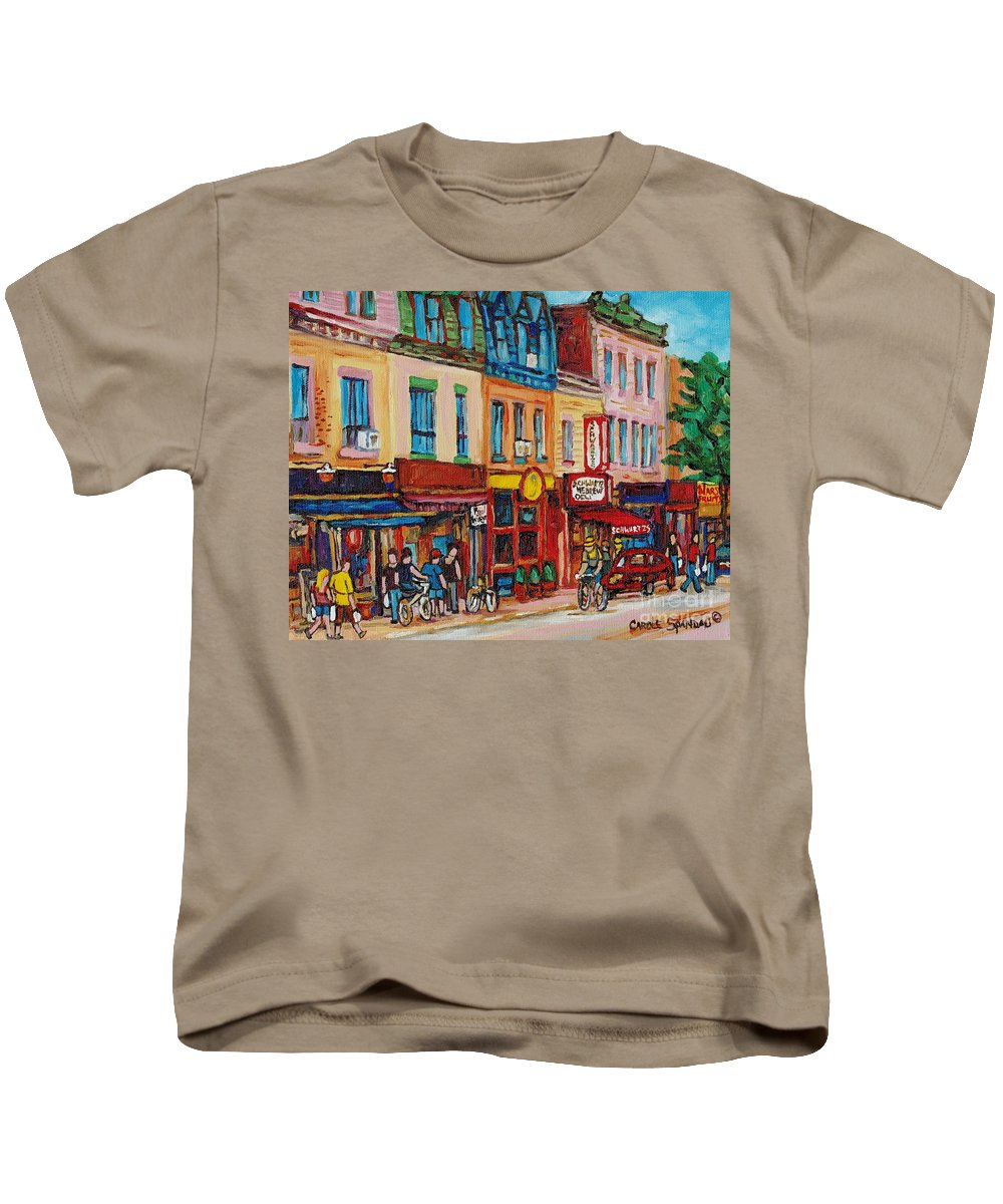 Schwartz Deli Kids T-Shirt featuring the painting Schwartzs Deli And Warshaw Fruit Store Montreal Landmarks On St Lawrence Street by Carole Spandau
