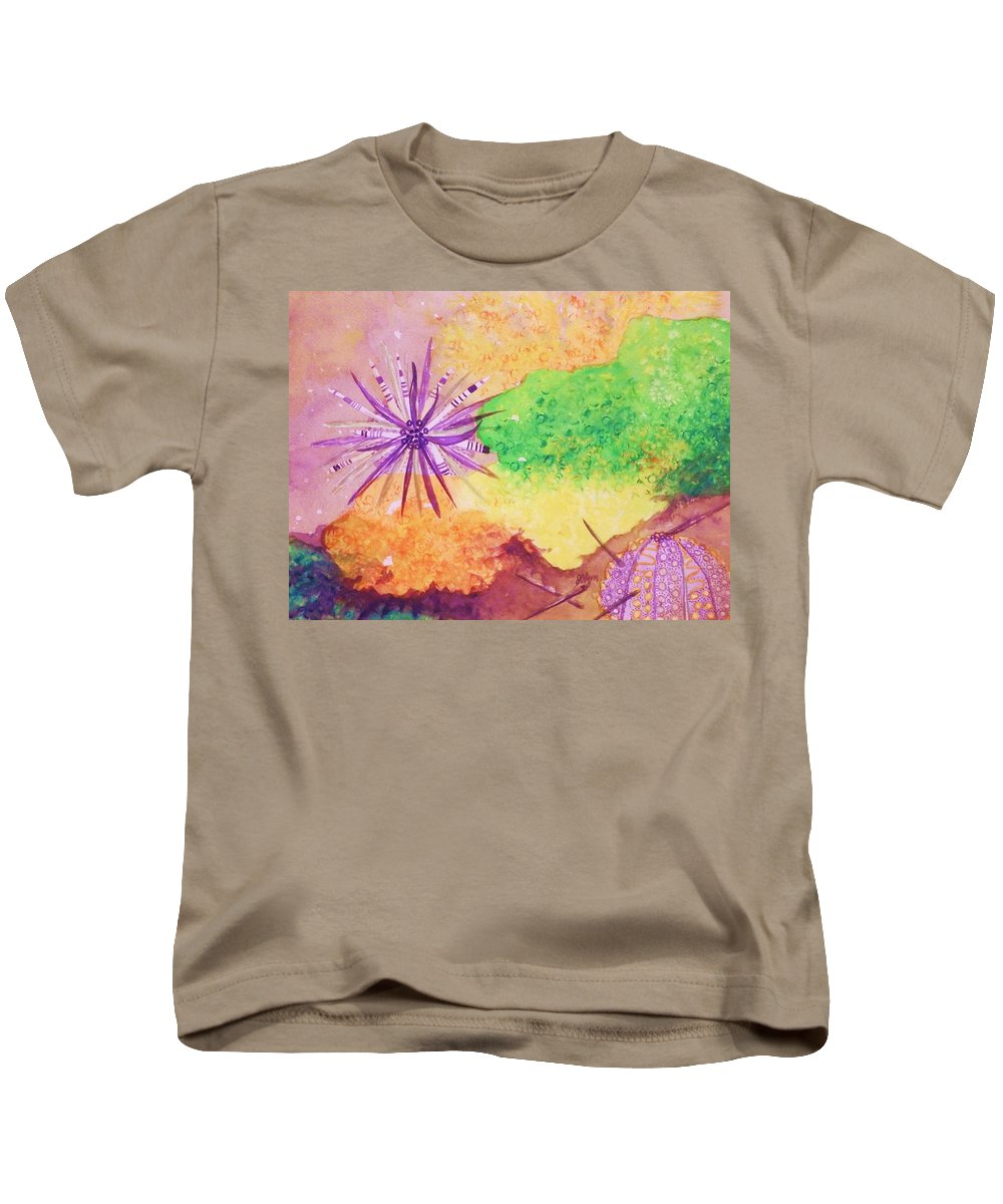 Sea Urchin.spiny Kids T-Shirt featuring the painting Sea Urchins - Abstract by Ellen Levinson