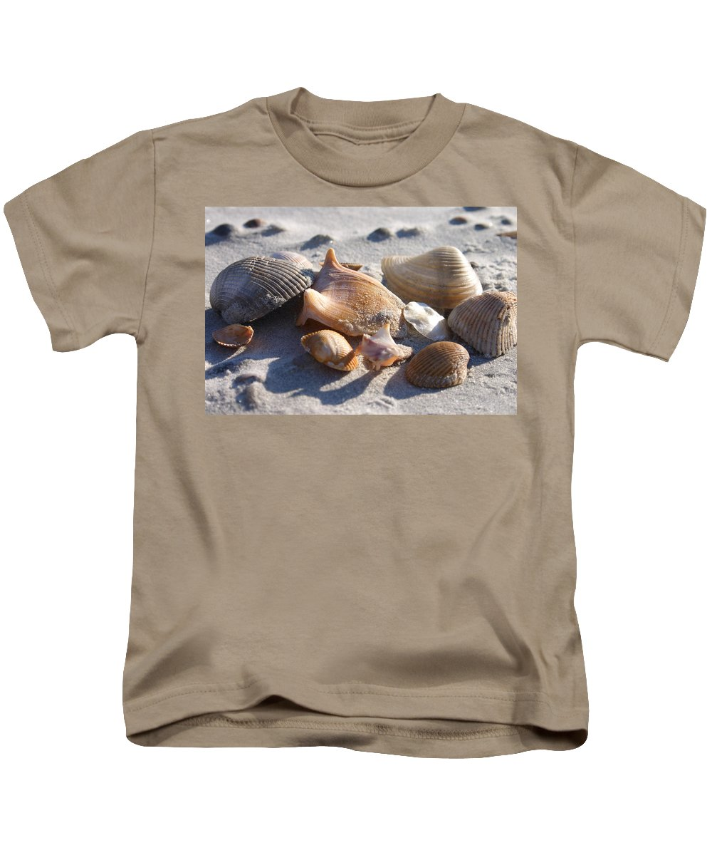 Shells Kids T-Shirt featuring the photograph Seashells by Spencer Studios