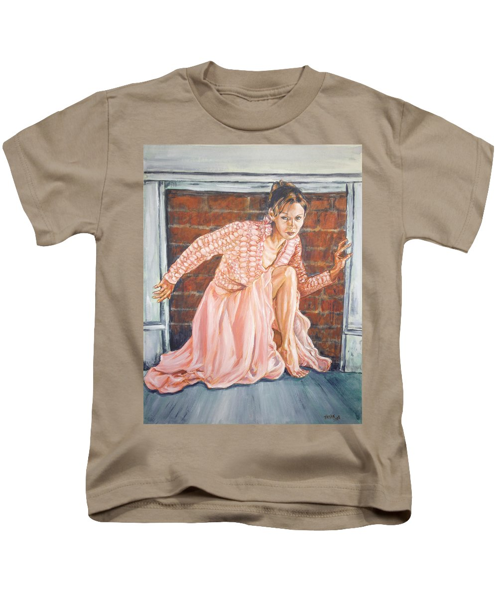 Blonde Kids T-Shirt featuring the painting Secret Passage by Bryan Bustard