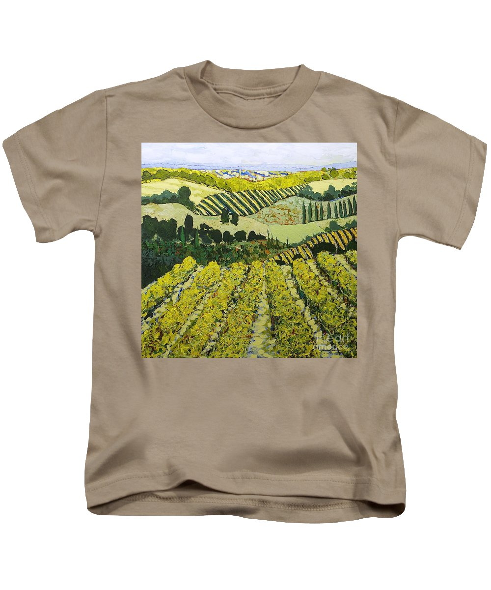 Landscape Kids T-Shirt featuring the painting Sharing The Discovery by Allan P Friedlander