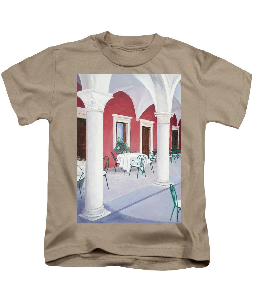 Sibenik Kids T-Shirt featuring the painting Sibenik Cafe Croatia by Jan Matson