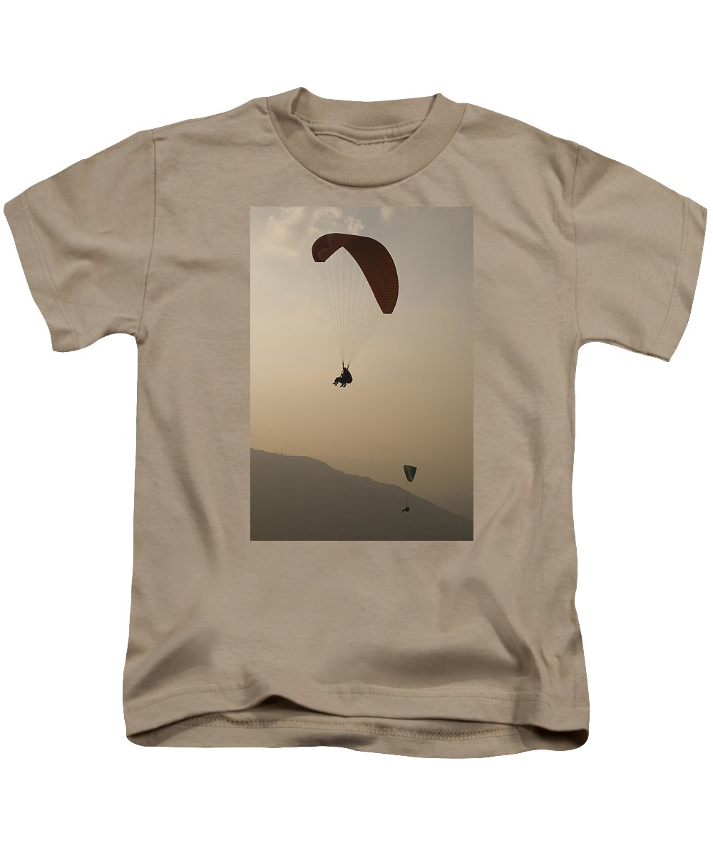 Two Kids T-Shirt featuring the photograph Skc 4612 Flying In Tandem by Sunil Kapadia