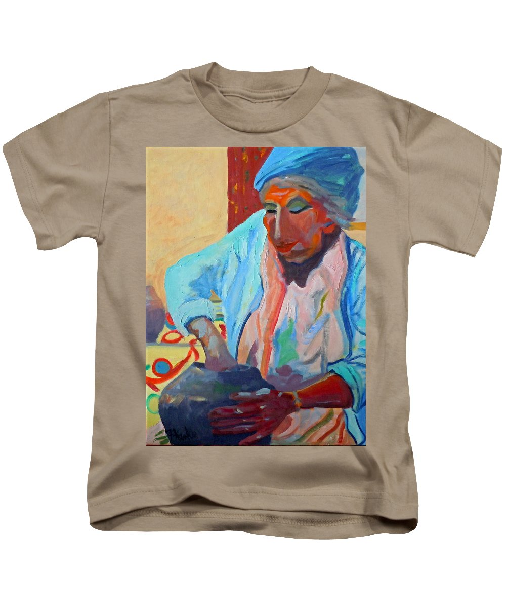 Human Figure Kids T-Shirt featuring the painting Sky City - Marie by Francine Frank