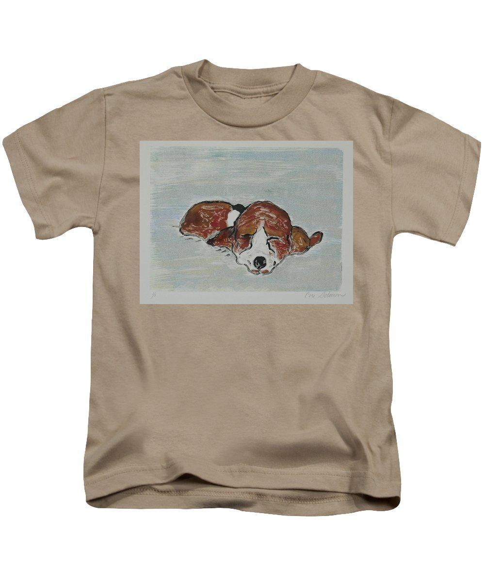Basset Hound Kids T-Shirt featuring the mixed media Sleepyhead by Cori Solomon