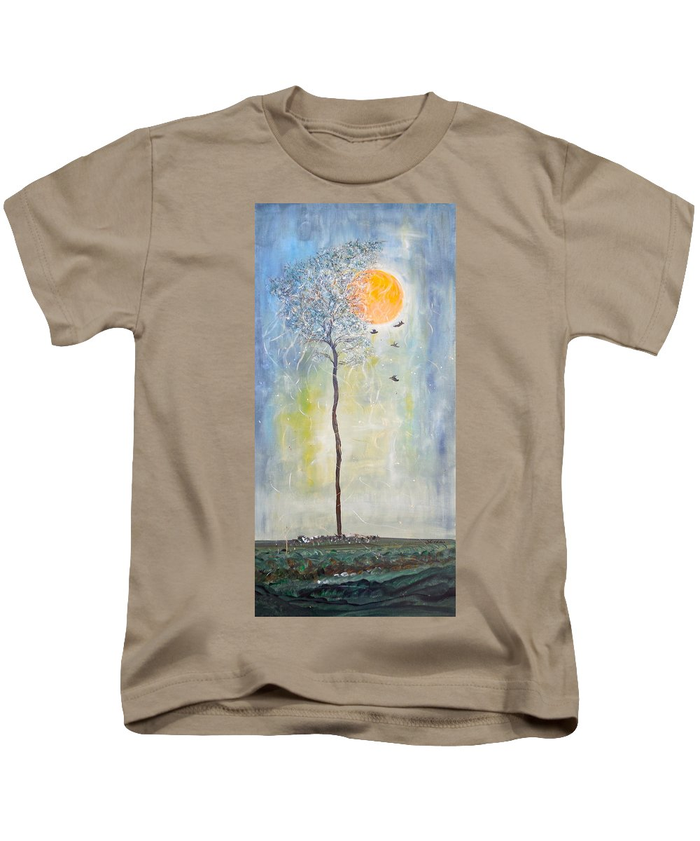 Whimsical Painting Kids T-Shirt featuring the painting Smiling At Days End by Sara Credito