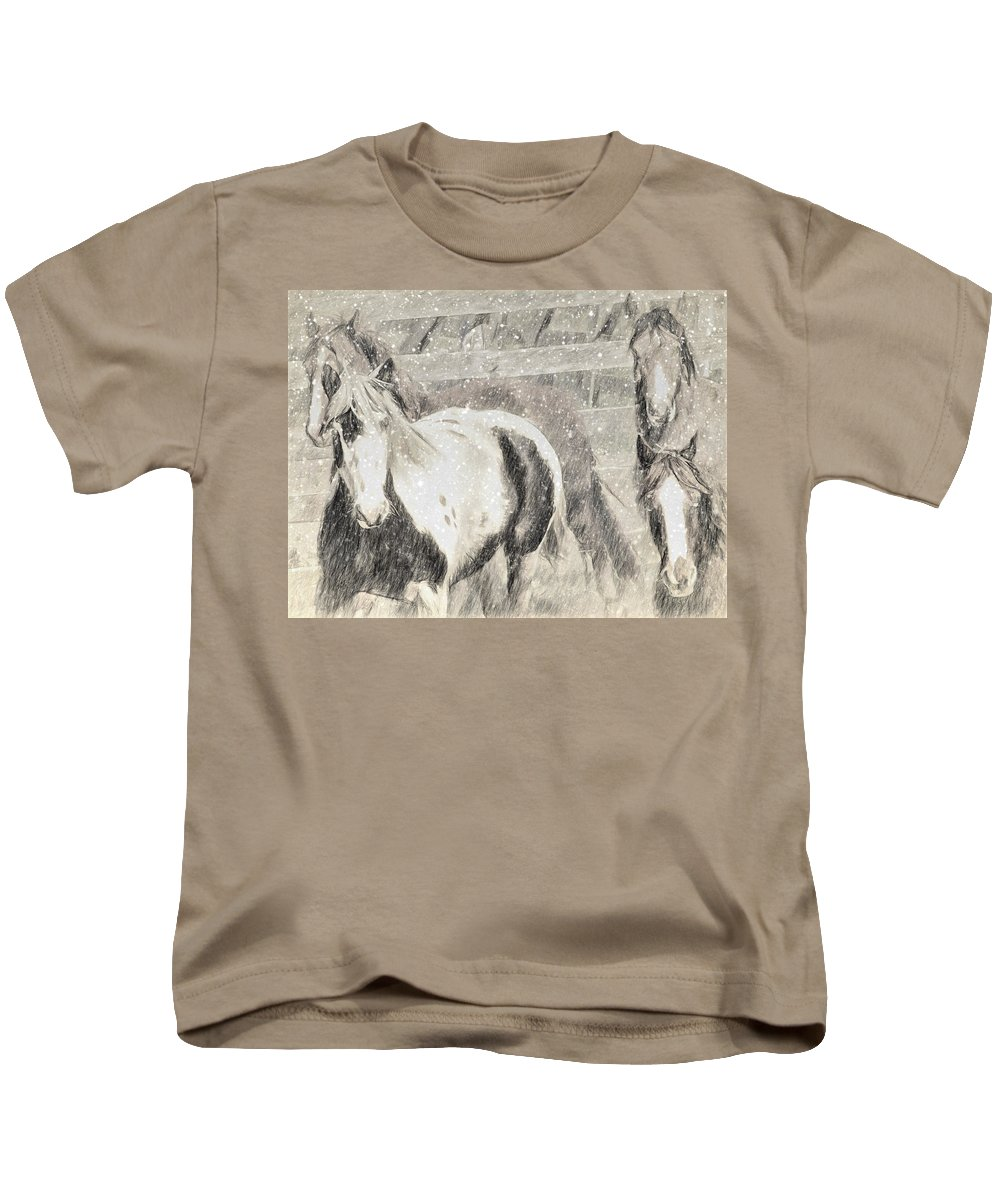 Horses Kids T-Shirt featuring the photograph Snow Day Roundup by Alice Gipson