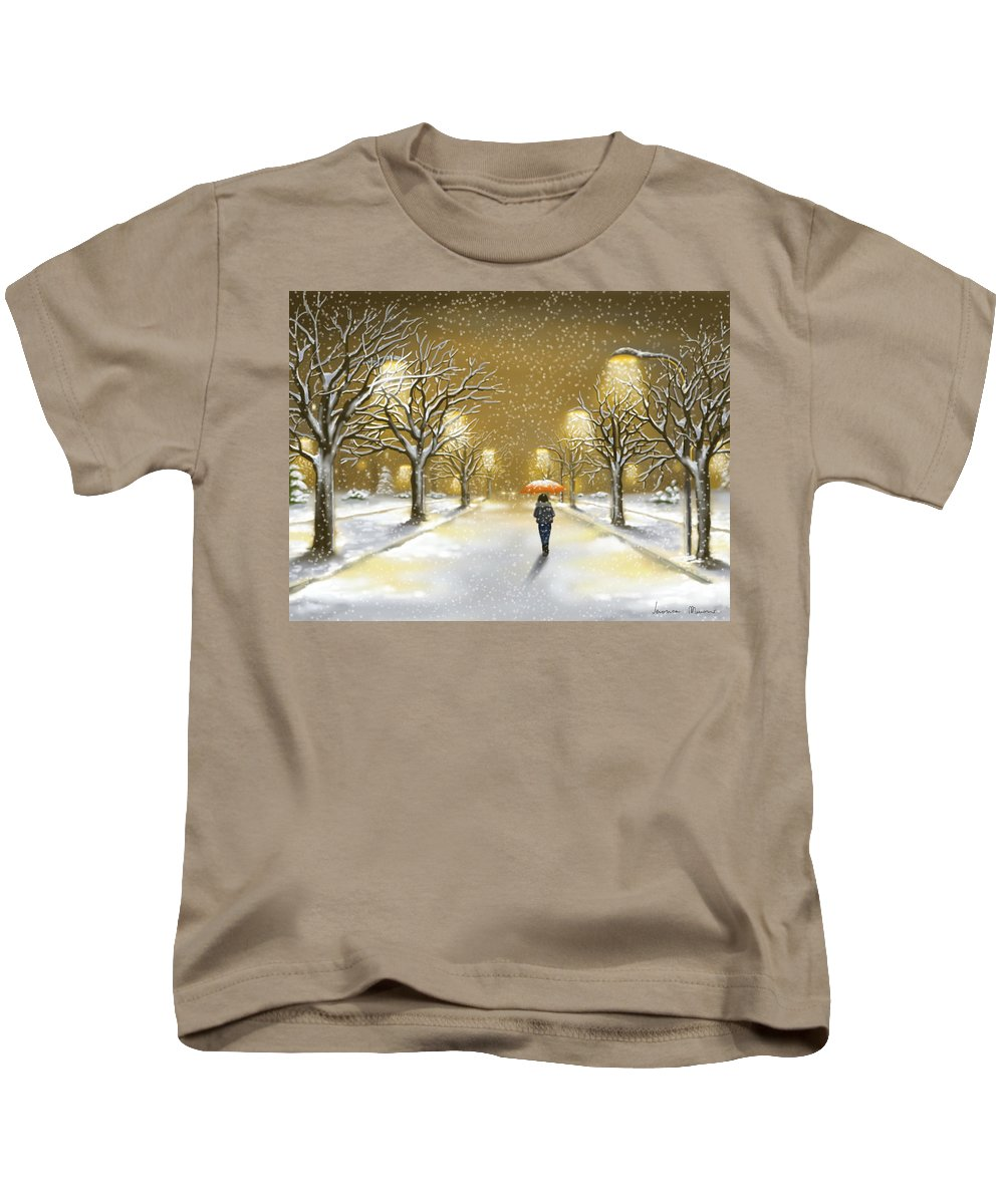 Landscape Kids T-Shirt featuring the painting Snowfall by Veronica Minozzi