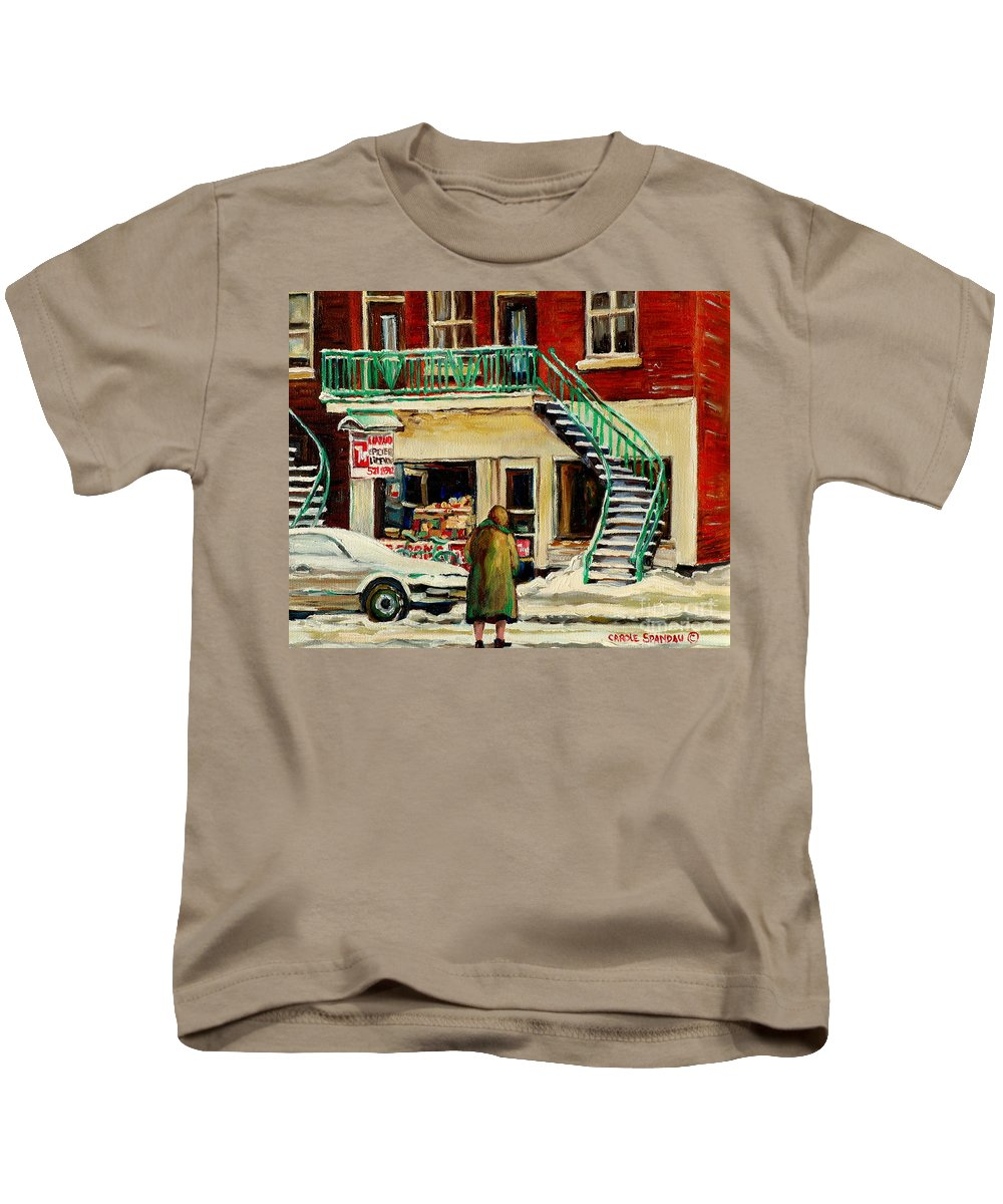 Montreal Kids T-Shirt featuring the painting Snowing At The Five And Dime by Carole Spandau
