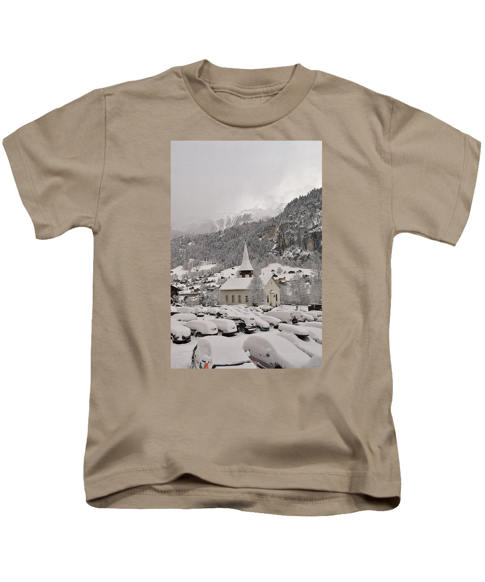 Lauterbrunnen Valley Kids T-Shirt featuring the photograph Snowing In The Valley by Felicia Tica