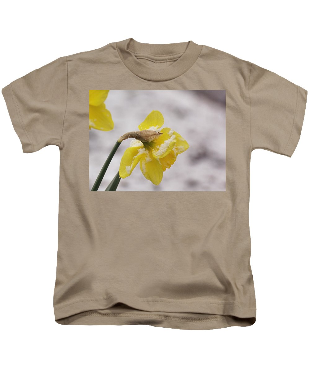 Daffodils Kids T-Shirt featuring the photograph Snowy Daffodil by Mel Hensley