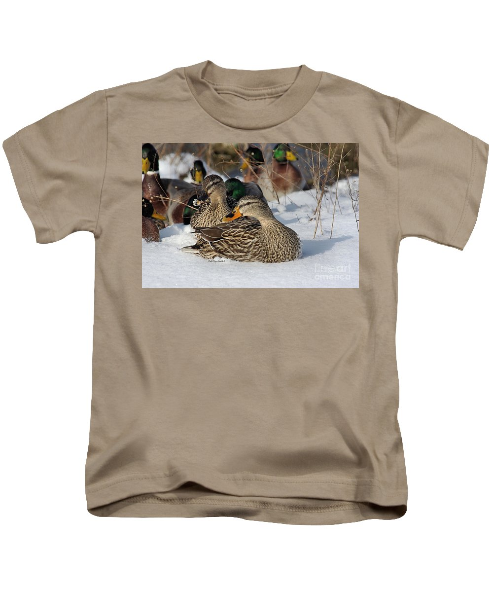 Duck Kids T-Shirt featuring the photograph Snowy Mallards by Patti Smith