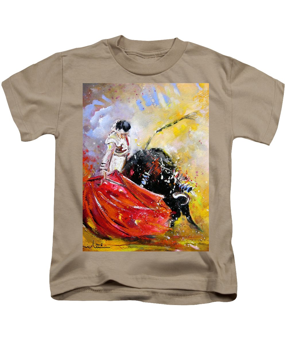 Bullfight Kids T-Shirt featuring the painting Softly And Gently by Miki De Goodaboom