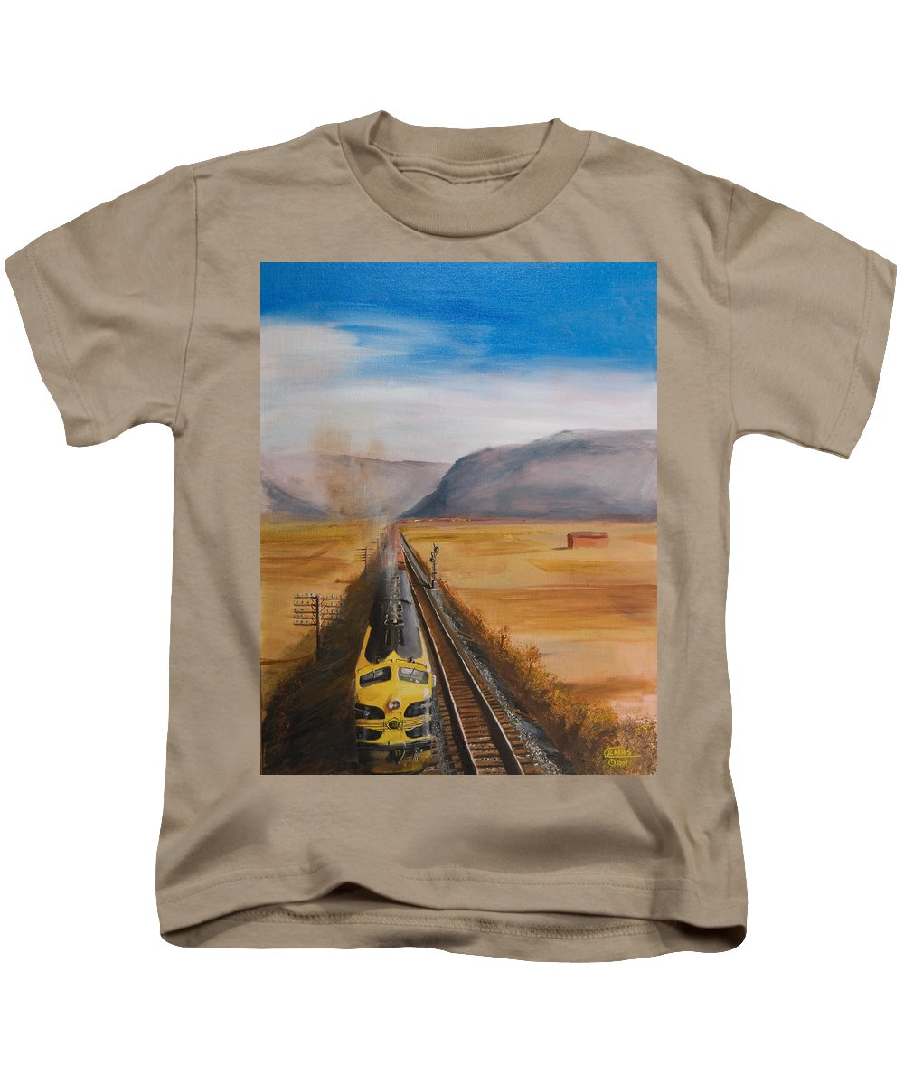 Train Kids T-Shirt featuring the painting Somewhere West Of Corning by Christopher Jenkins