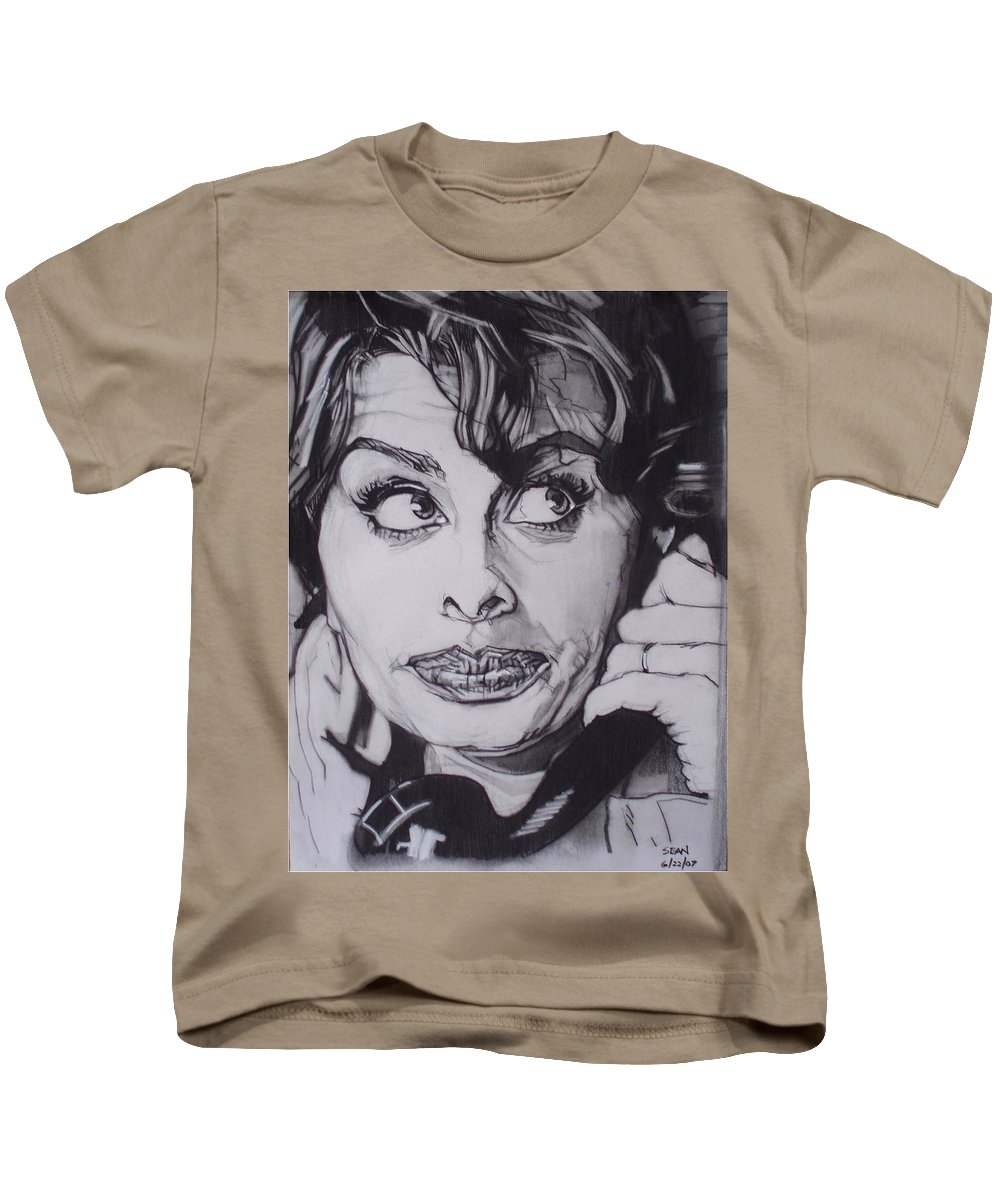 Charcoal;icon;actress;diva;italian;cat Eyes;beautiful;cute;adorable Kids T-Shirt featuring the drawing Sophia Loren Telephones by Sean Connolly