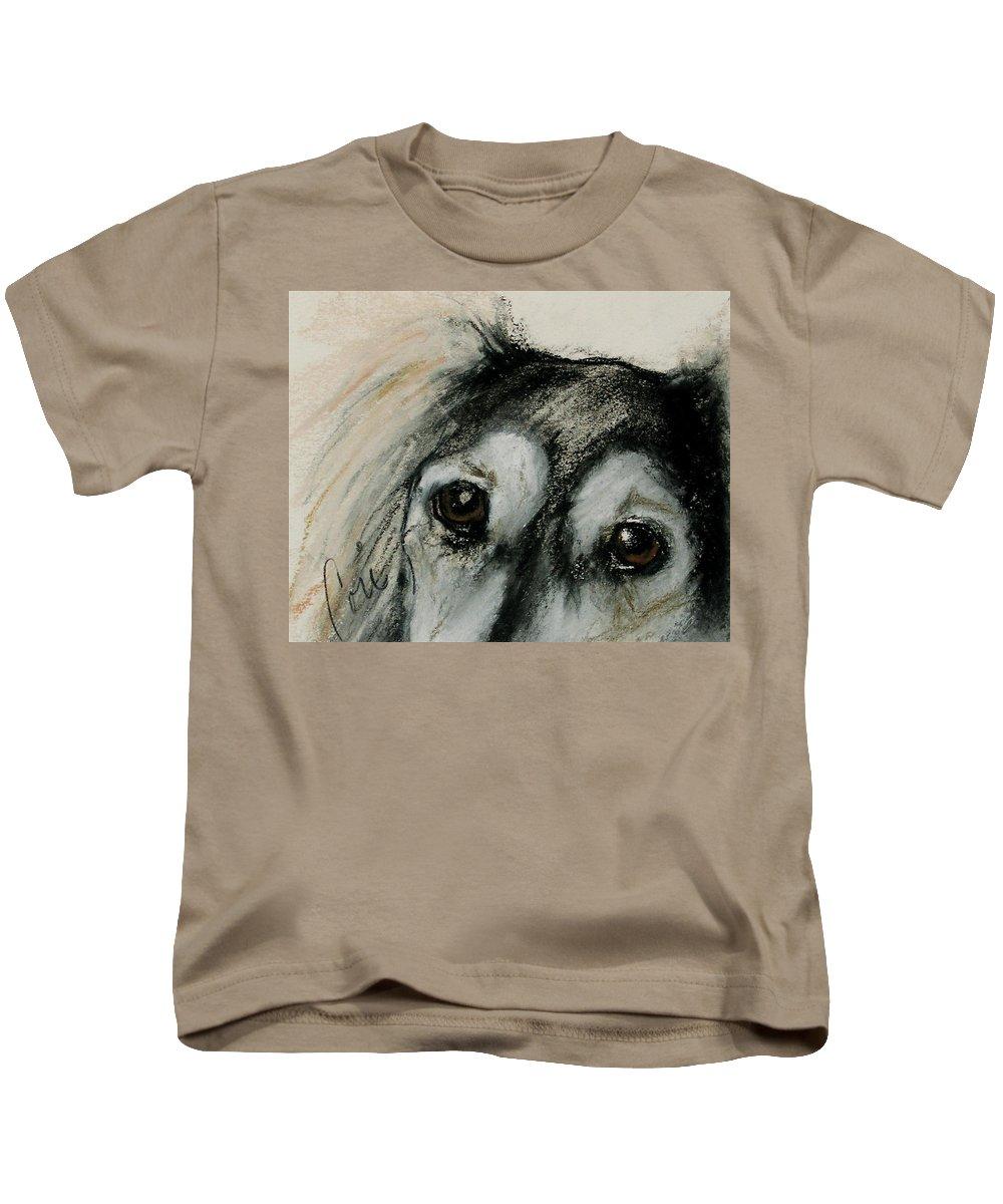 Saluki Kids T-Shirt featuring the drawing Sophia's Eyes by Cori Solomon