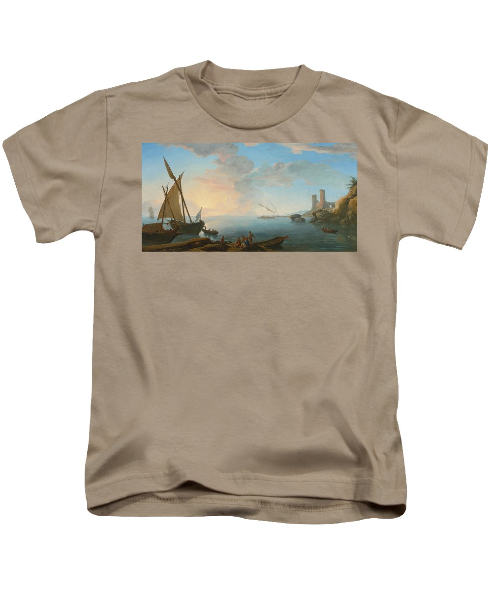 Adrien Manglard Kids T-Shirt featuring the painting Southern Mediterranean Seascape With Boats And Figures At Sunset by Adrien Manglard