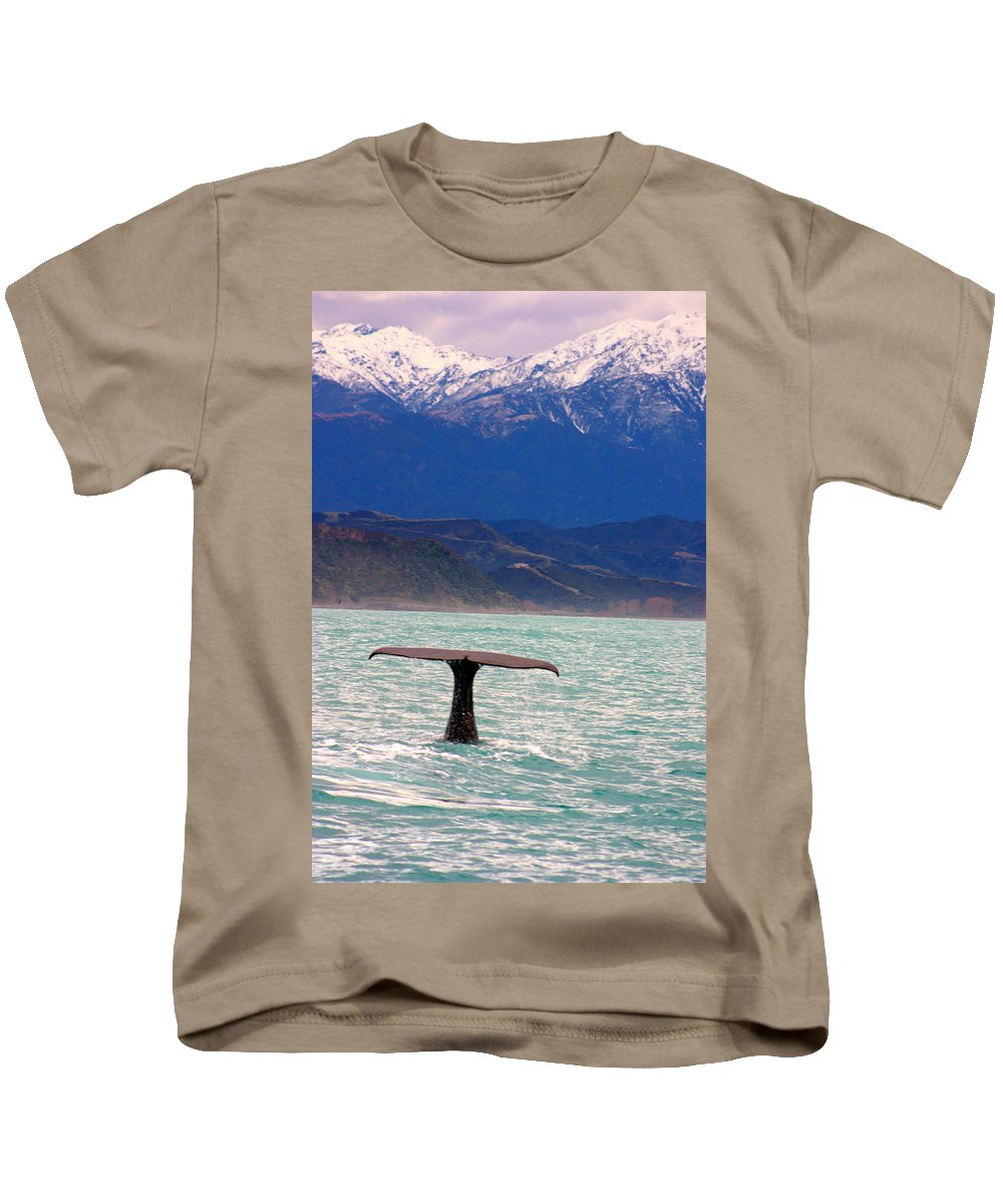Whale Kids T-Shirt featuring the photograph Sperm Whale Diving New Zealand by Amanda Stadther
