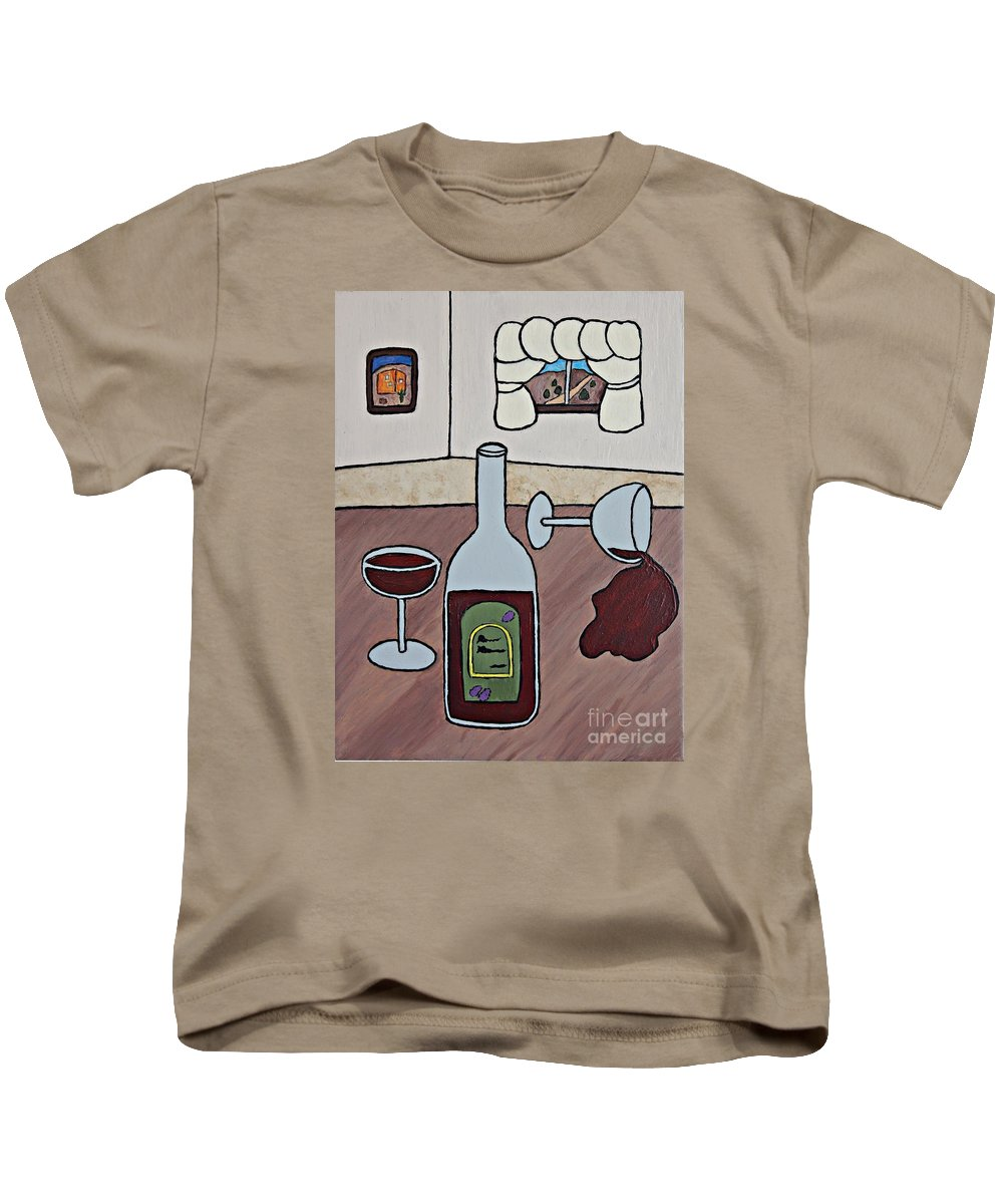 Folk Art Kids T-Shirt featuring the painting Essence Of Home - Spilt Wine by Sheryl Young