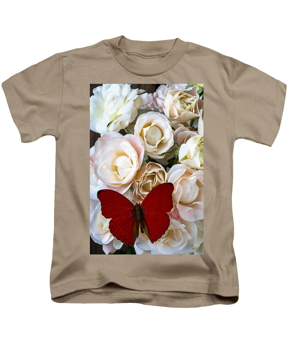 Spray Roses Kids T-Shirt featuring the photograph Spray Roses And Red Butterfly by Garry Gay