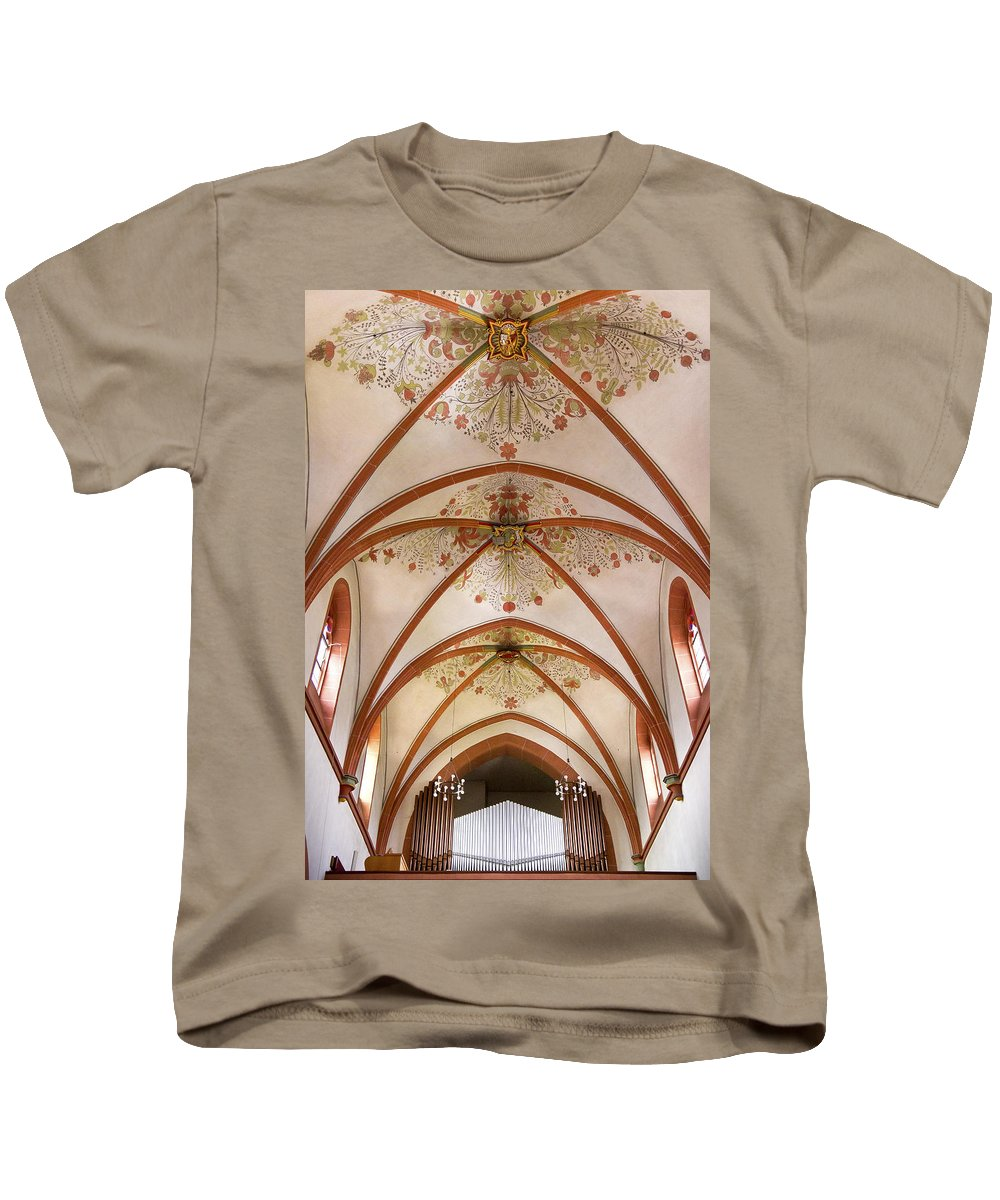 Organ Kids T-Shirt featuring the photograph St Goar Organ And Ceiling by Jenny Setchell