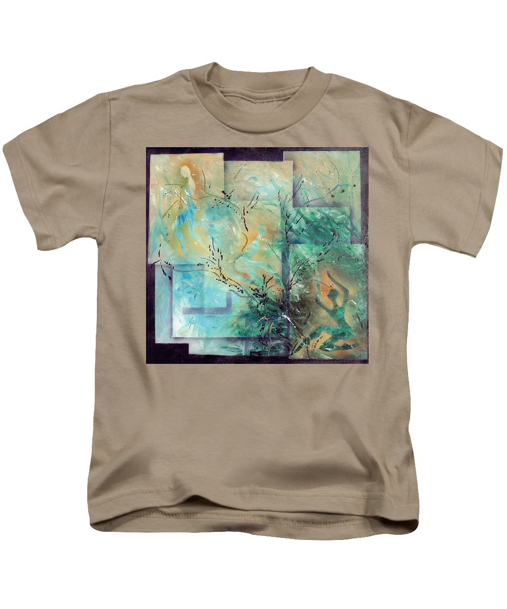 Abstract Kids T-Shirt featuring the painting Stages In Which Th E Background Becomes Visible by Lorena Fernandez