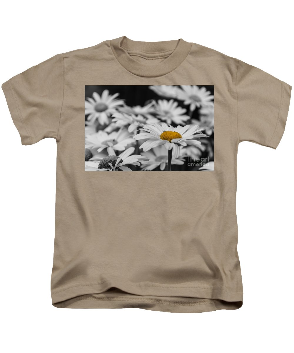 Oxeye Daisy Kids T-Shirt featuring the photograph Standing Out From The Crowd 1 by Steve Purnell