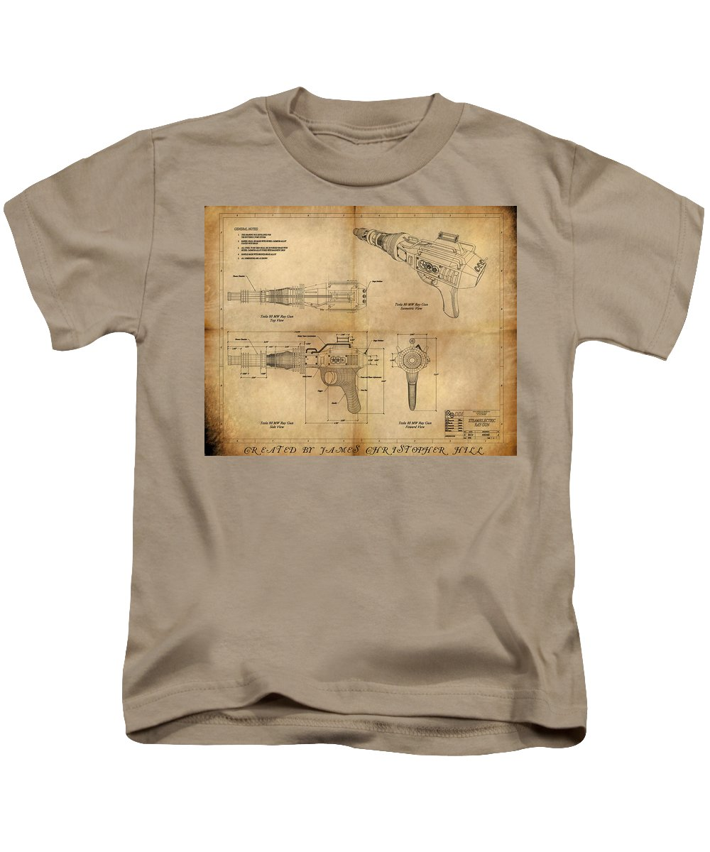 Steampunk; Gears; Housing; Cogs; Machinery; Lathe; Columns; Brass; Copper; Gold; Ratio; Rotation; Elegant; Forge; Industry; Plasma Kids T-Shirt featuring the painting Steampunk Raygun by James Christopher Hill