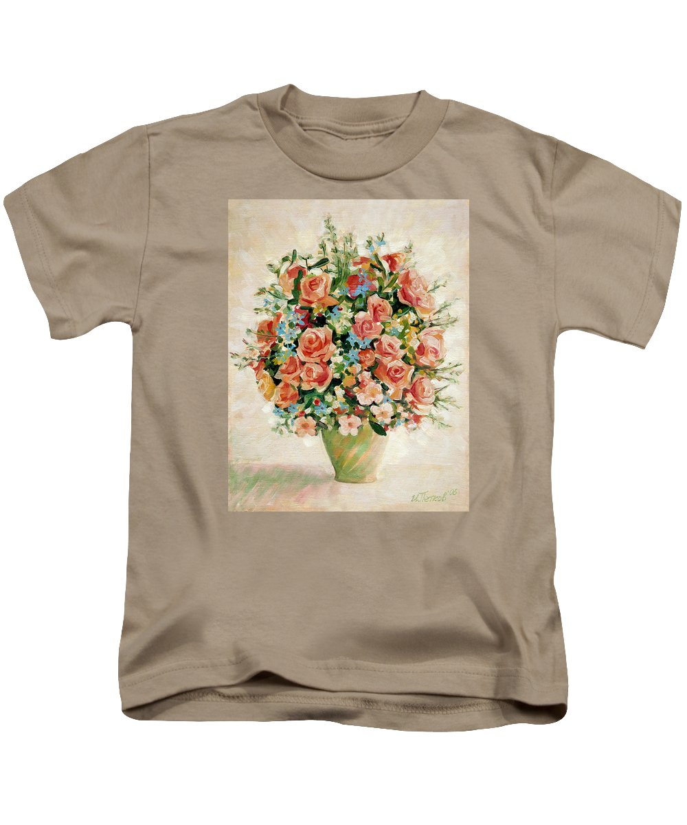 Flowers Kids T-Shirt featuring the painting Still Life With Roses by Iliyan Bozhanov