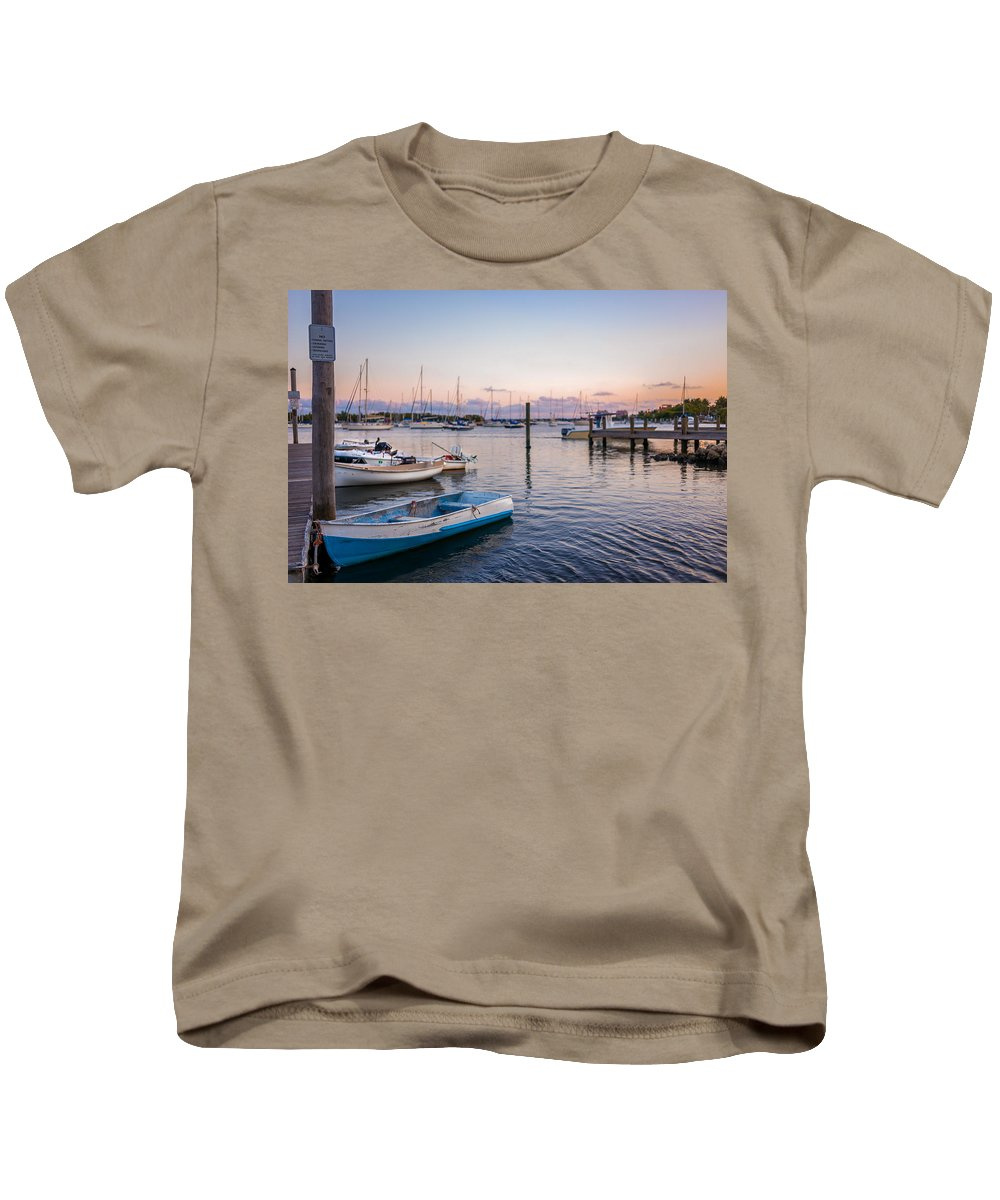 Boat Kids T-Shirt featuring the photograph Sunset At The Pier by Anja Solum