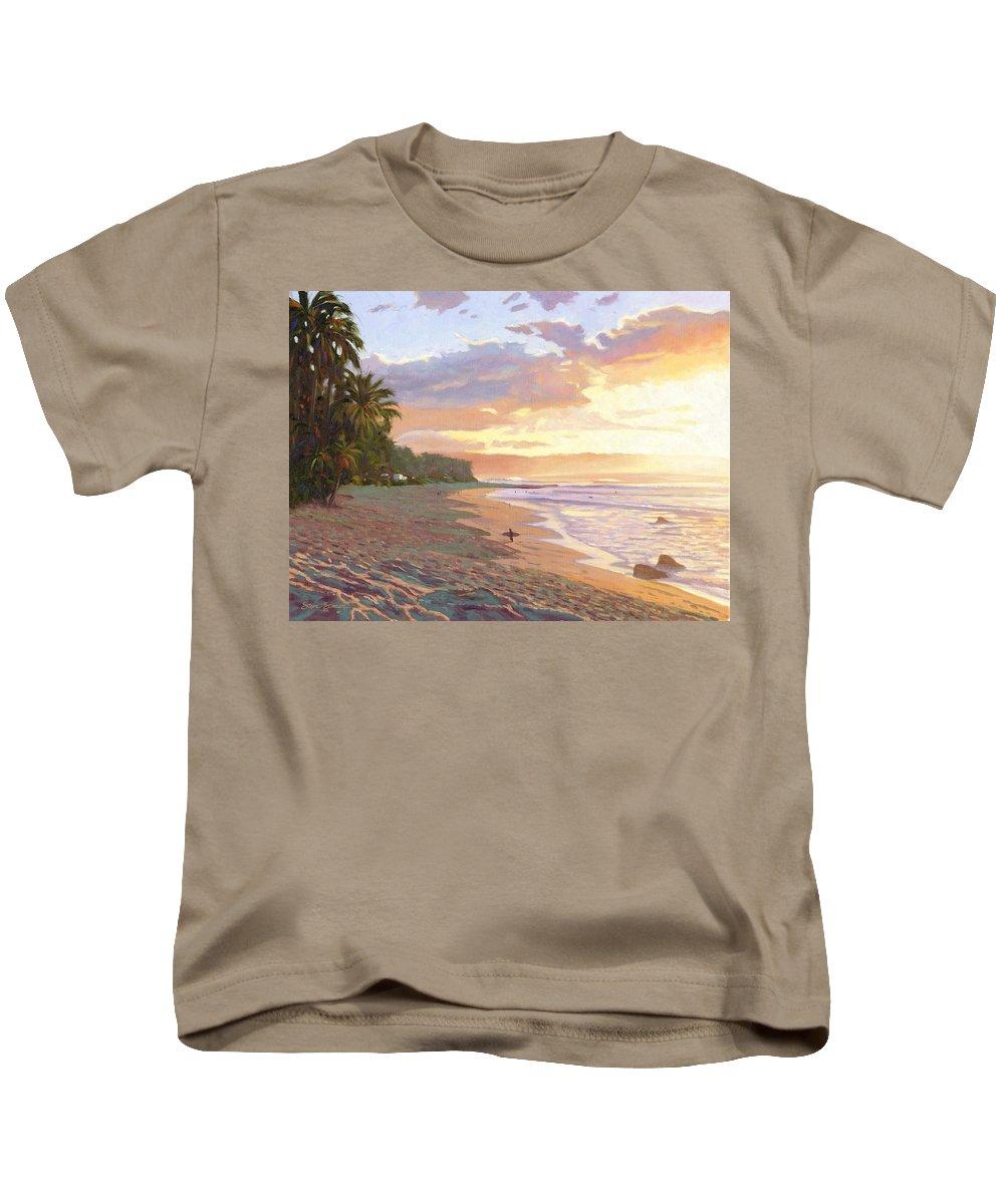 Sunset Beach Kids T-Shirt featuring the painting Sunset Beach - Oahu by Steve Simon