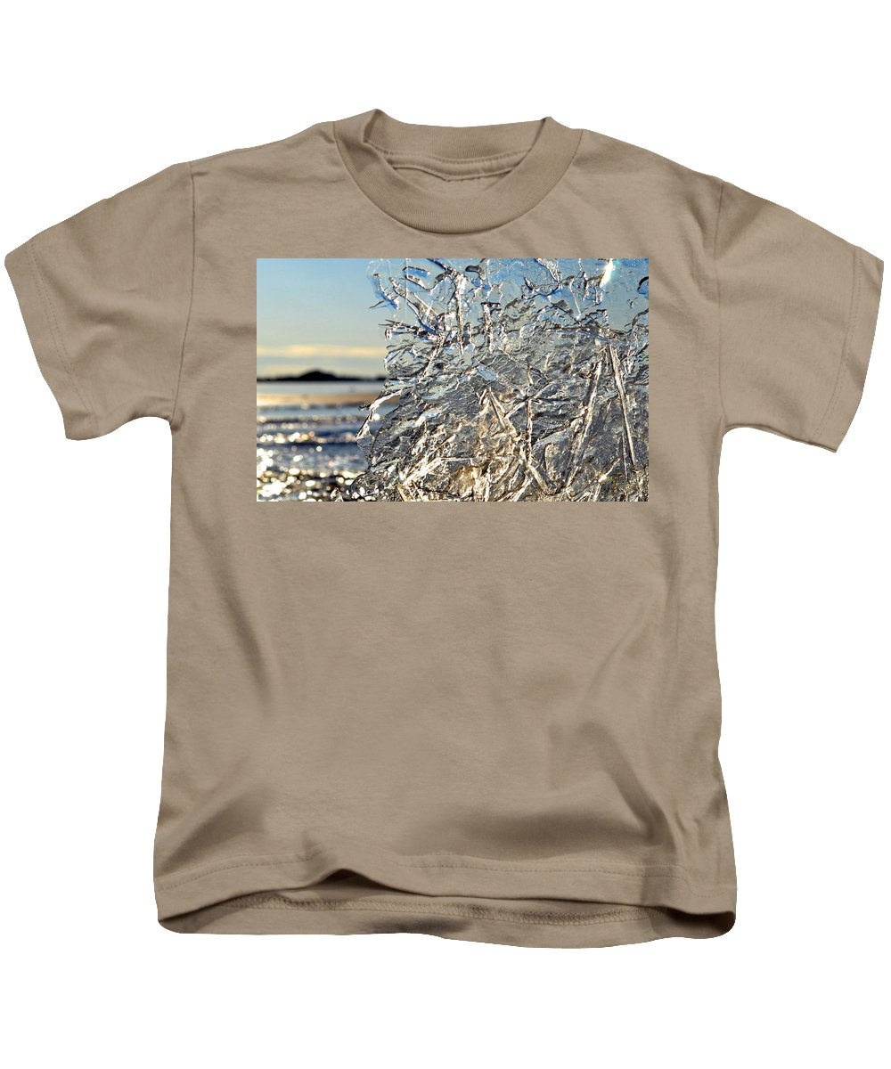 Snow Scenes Kids T-Shirt featuring the photograph Sunset On Ice by Csilla Florida