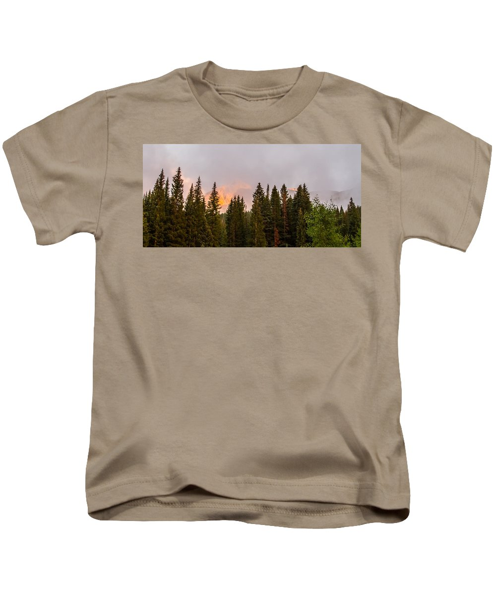 Colorado Kids T-Shirt featuring the photograph Sunset On West Beckwith Peak by Jeff Stoddart