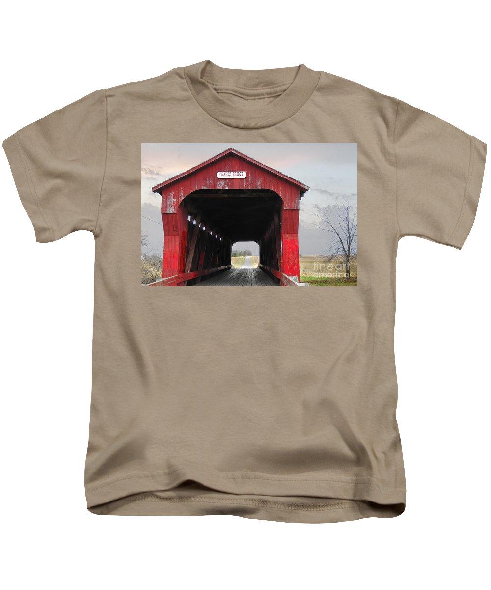 Swartz Covered Bridge Kids T-Shirt featuring the photograph Swartz Covered Bridge Ohio by David Arment