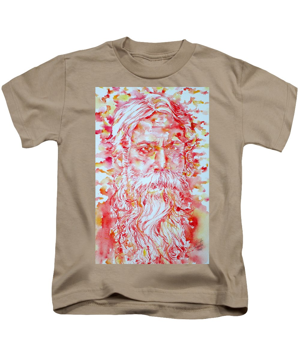 Tagore Kids T-Shirt featuring the painting Tagore by Fabrizio Cassetta
