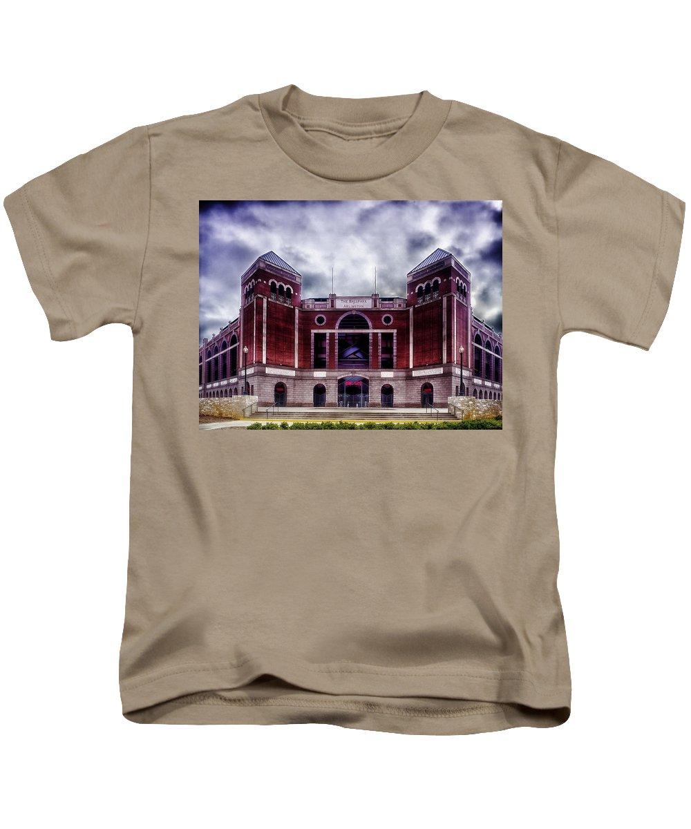 Ballpark Kids T-Shirt featuring the photograph Texas Rangers Ballpark In Arlington Texas by Mountain Dreams