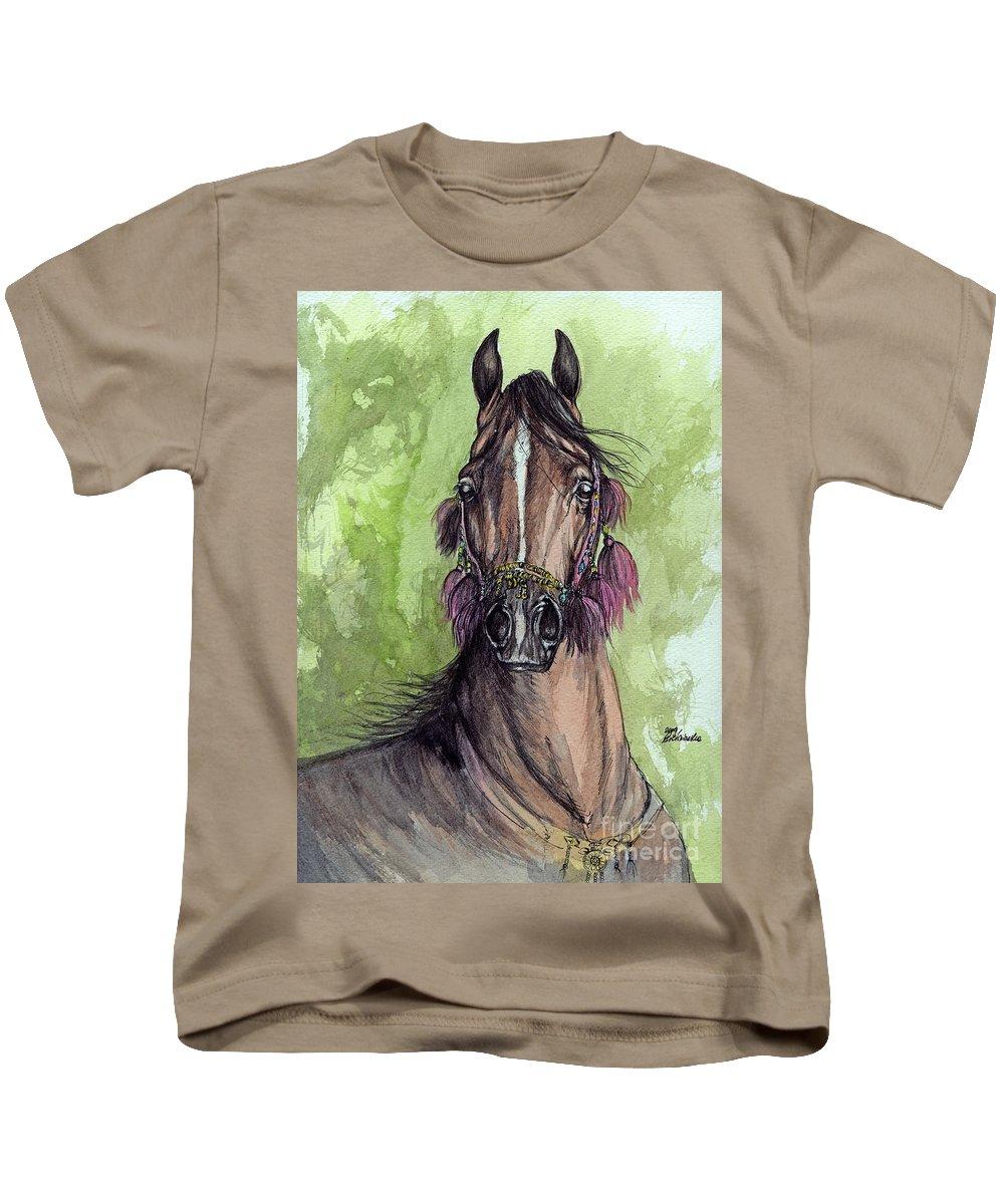 Horse Kids T-Shirt featuring the painting The Bay Arabian Horse 16 by Angel Ciesniarska