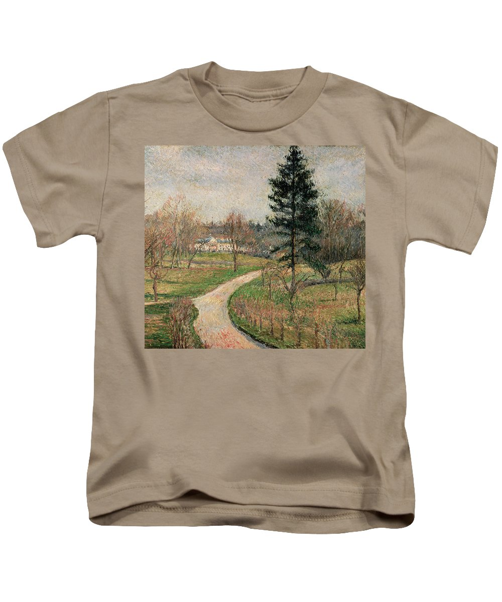Impressionist Kids T-Shirt featuring the painting The Chateau At Busagny by Camille Pissarro