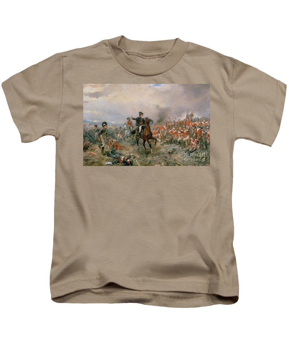 The Kids T-Shirt featuring the painting The Duke Of Wellington At Waterloo by Robert Alexander Hillingford