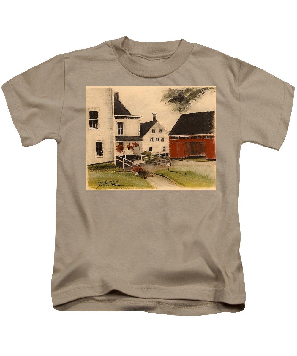 Prairie Kids T-Shirt featuring the painting The Farmhouse by Diane Strain