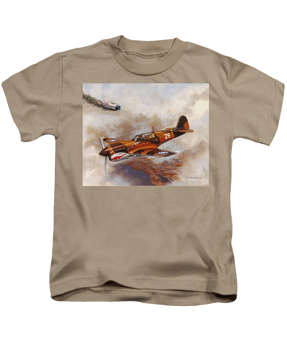 Aircraft Kids T-Shirt featuring the painting The Flying Tigers by Dick Bobnick