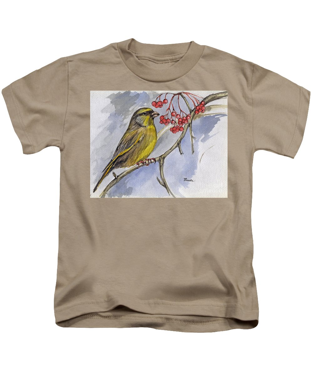 Greenfinch Kids T-Shirt featuring the painting The Greenfinch by Angel Tarantella