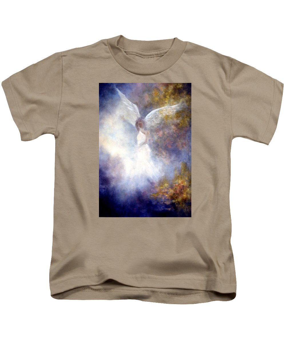 Angel Kids T-Shirt featuring the painting The Guardian by Marina Petro