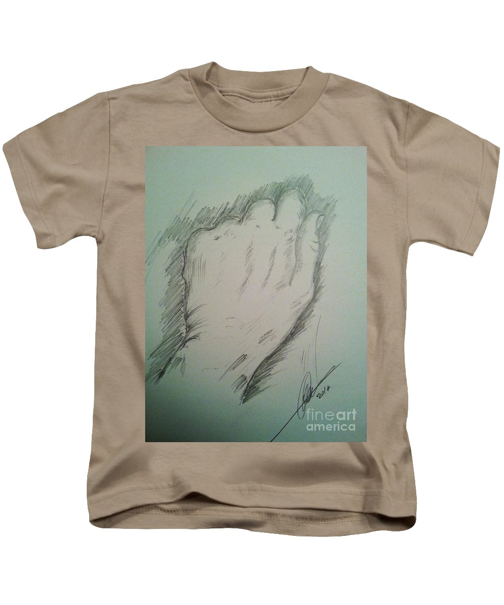 Hand Kids T-Shirt featuring the drawing The Hand by Collin A Clarke