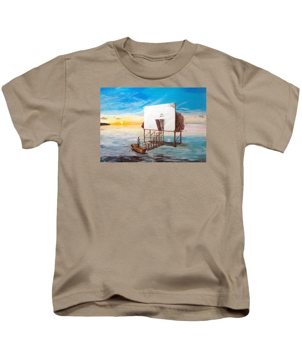 Landscape Kids T-Shirt featuring the painting The Occult Listen With Music Of The Description Box by Lazaro Hurtado