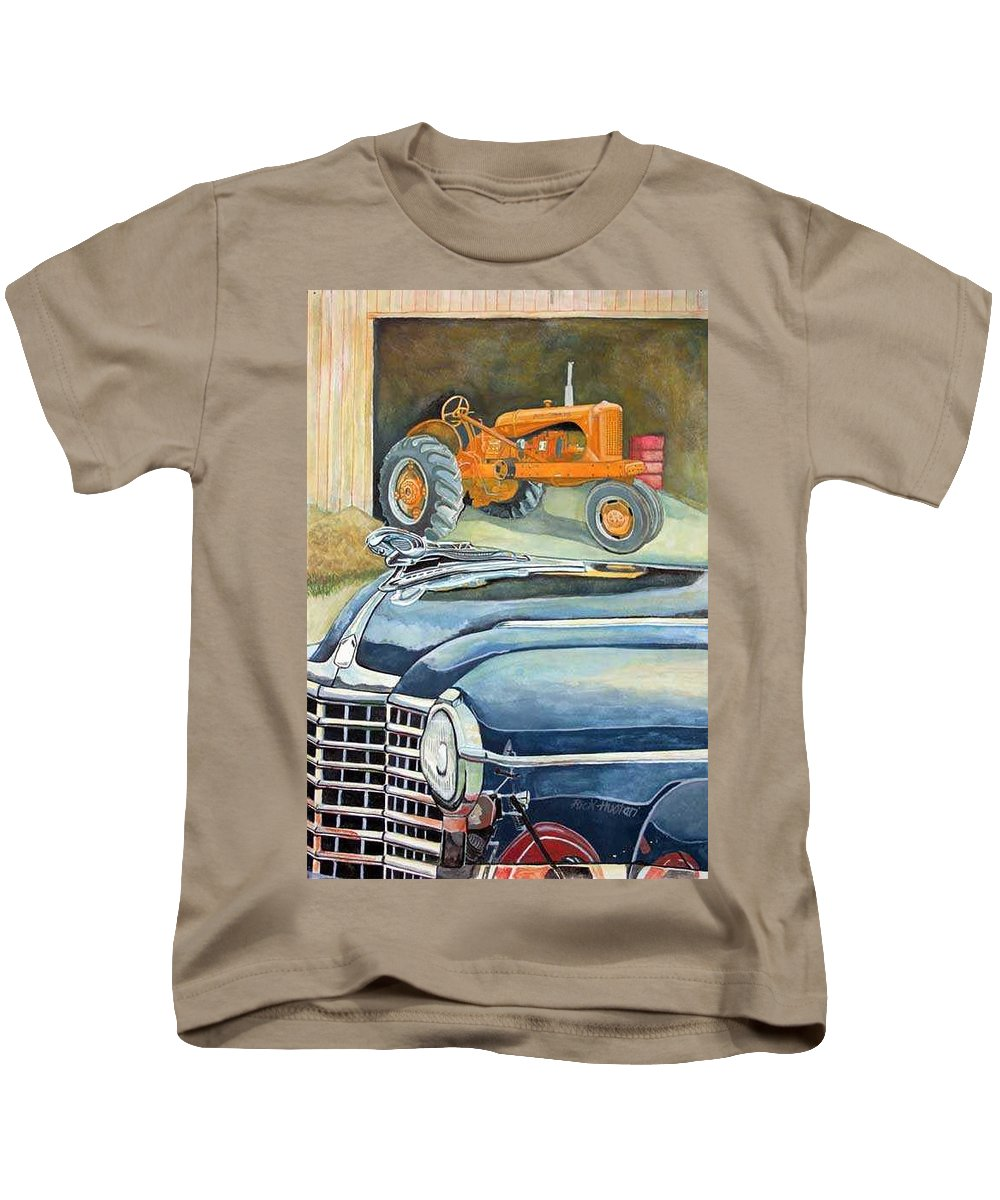 Rick Huotari Kids T-Shirt featuring the painting The Old Farm by Rick Huotari