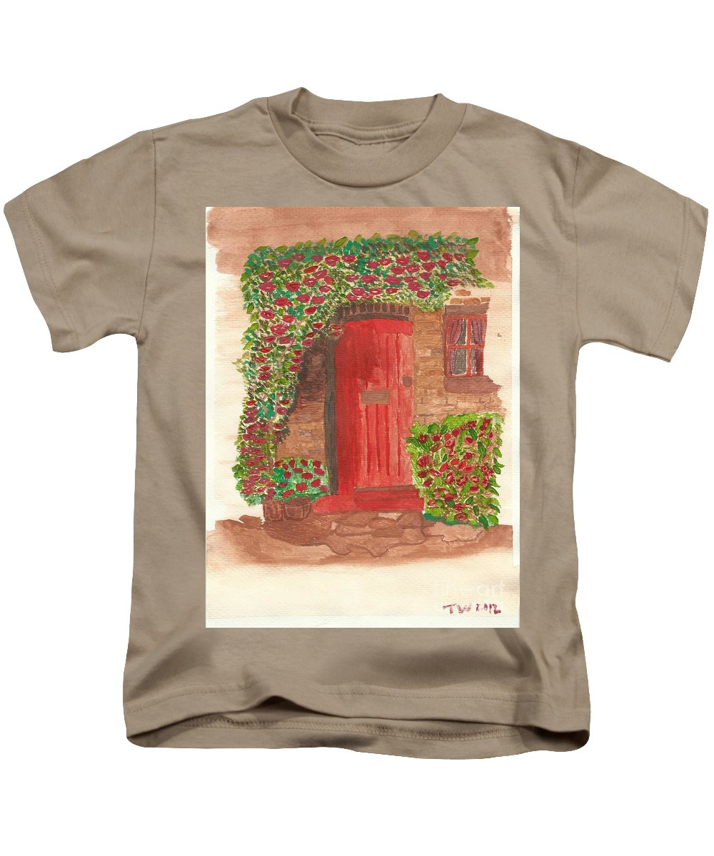 Orange Door Kids T-Shirt featuring the painting The Orange Door by Tracey Williams